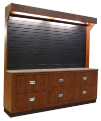 Floral supply cabinet with counter and slt wall display